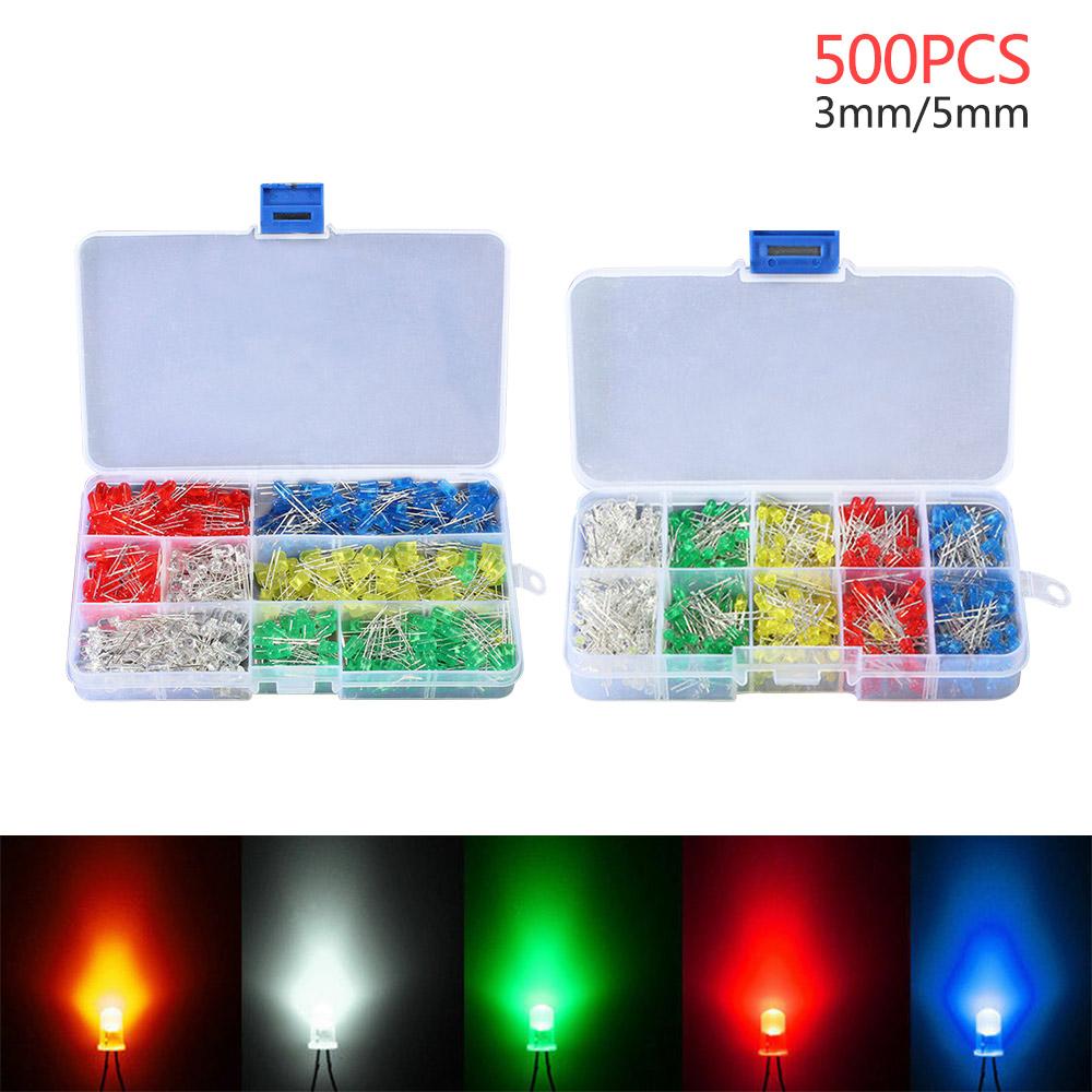 300pcs 3mm 5mm Light Emitting Diodes Round Head LED Lamp Assorted Kit