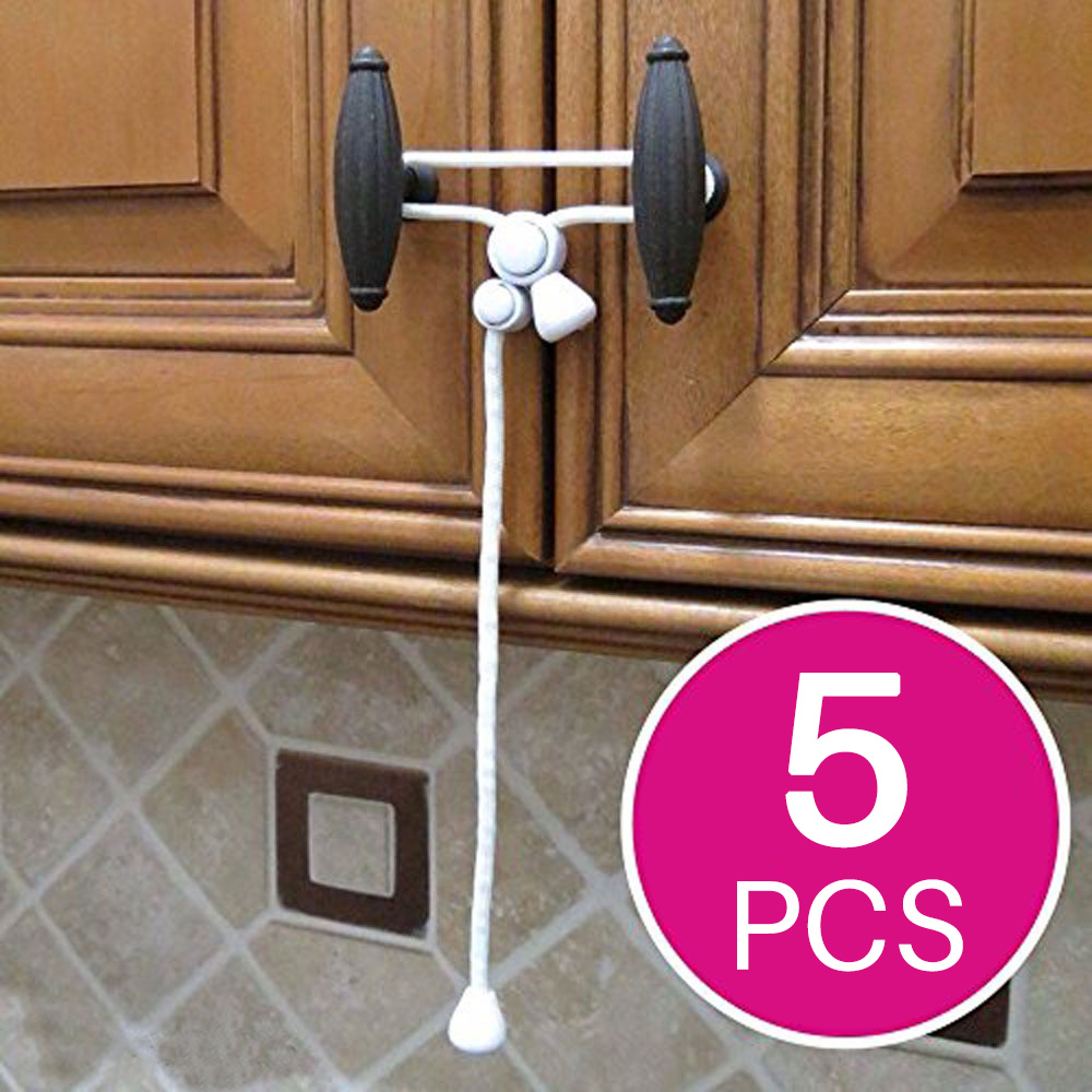 5pcs Baby Safety Cabinet Locks for Knobs Child Safe Cabinets Latches Straps New 5