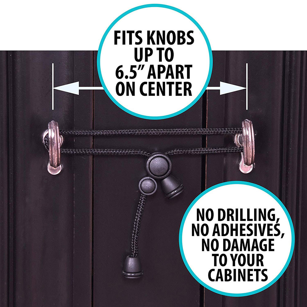 5pcs Baby Safety Cabinet Locks for Knobs Child Safe Cabinets Latches Straps New 6