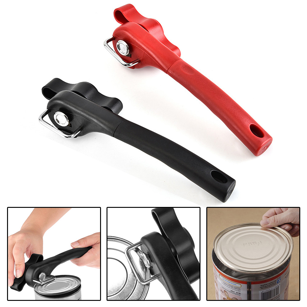 Manual Tin Can Opener Safe Cut Lid Smooth Edge Side Stainless Steel Tools Black