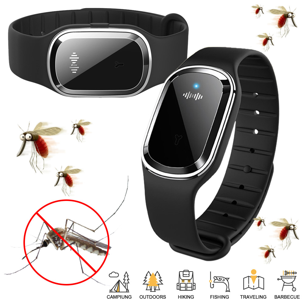 Mosquito Repellent Bracelet Ultrasonic Insect Pest Repeller Wristband E6G7