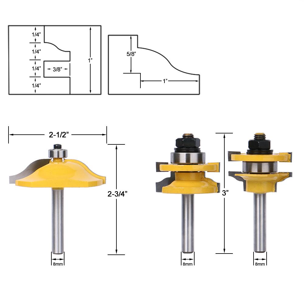 8mm Shank Raised Panel Cabinet Door Router Bit Woodwork Milling Cutter Tool Hot