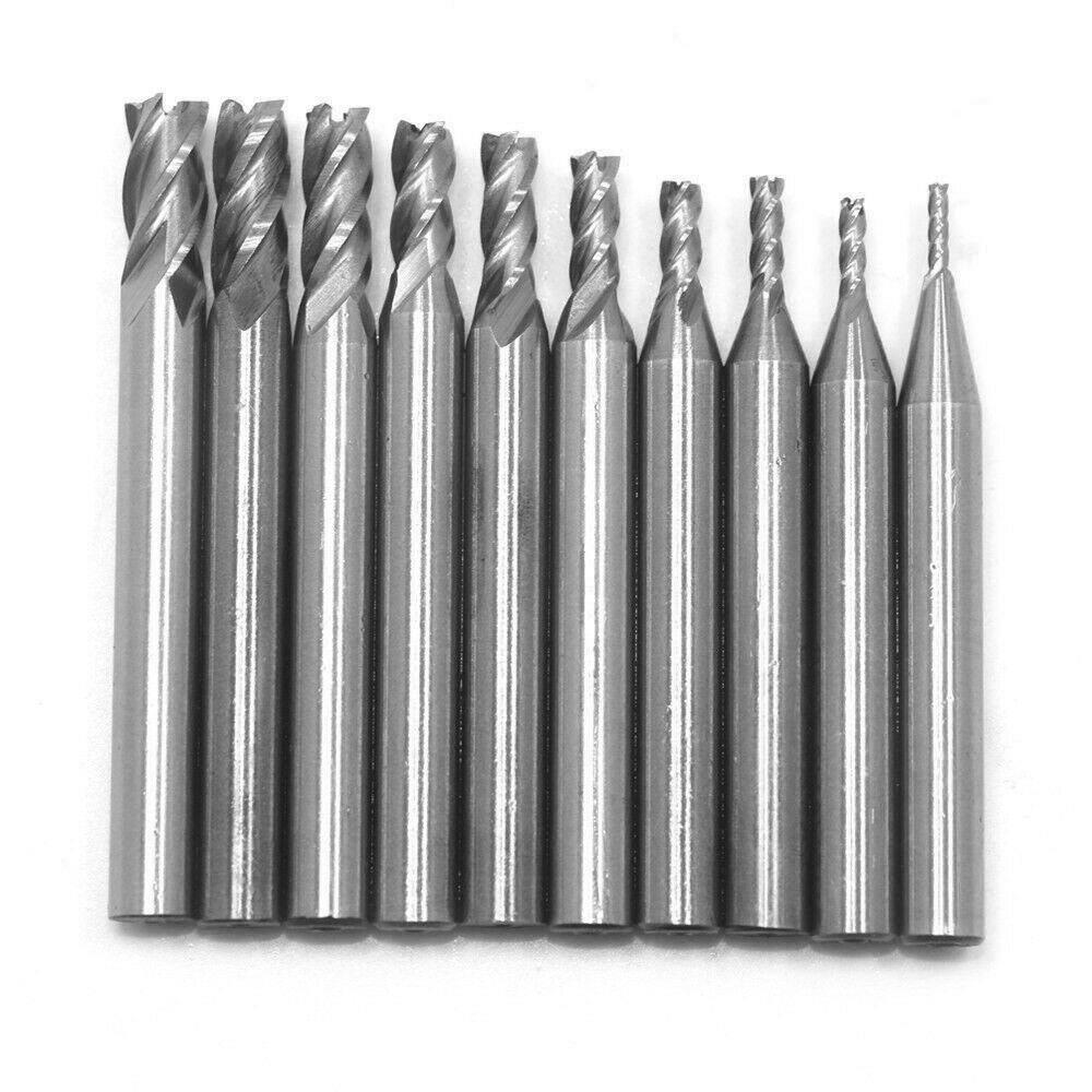 10Pcs Tungsten Carbide HSS-Al End Mill Milling Cutter Drill Bit 1.5-6mm usa