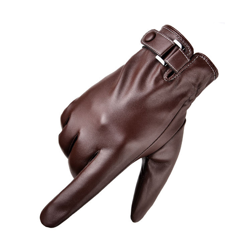 Men/'s Waterproof Warm PU Leather Cashmere Black Motorcycle Winter Driving Gloves