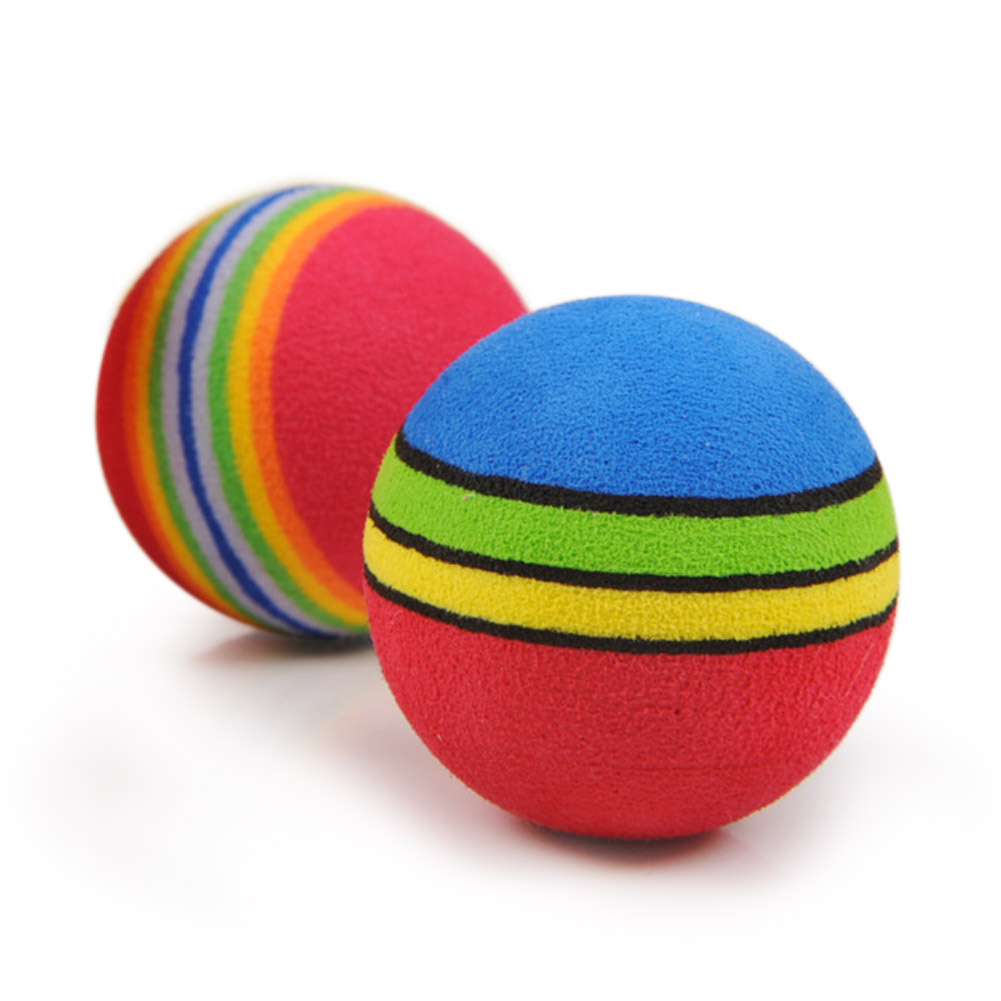 30Pcs Colorful Pet Cat Kitten Soft Foam Rainbow Play Balls Activity Toys