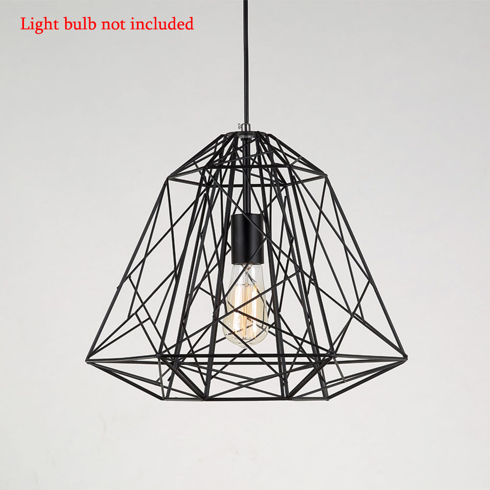 Modern Minimalist Bird Cage Pendant Lamp Diamond Ceiling Light Lampshade