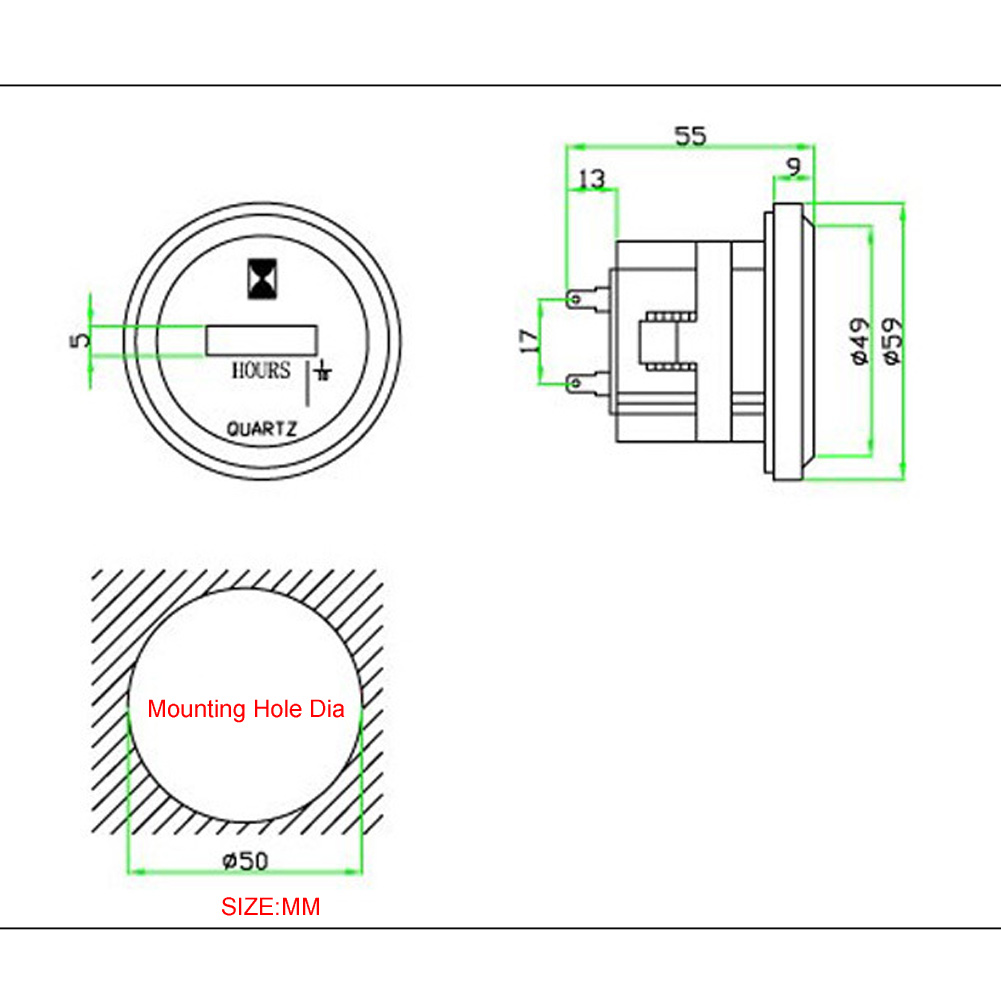 DC 10-85V Quartz Round Hour Meter For Boat Tractor Generator Engine Mower