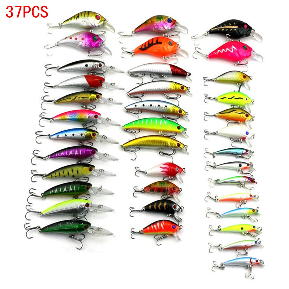 37PCS Plastic Mixed Fishing Minnow Lures Multi-color Bionic Baits Tackle