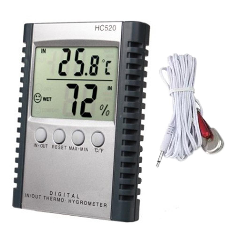 LCD Hygrometer Indoor Outdoor Humidity Thermometer W/ External Probe Sensor