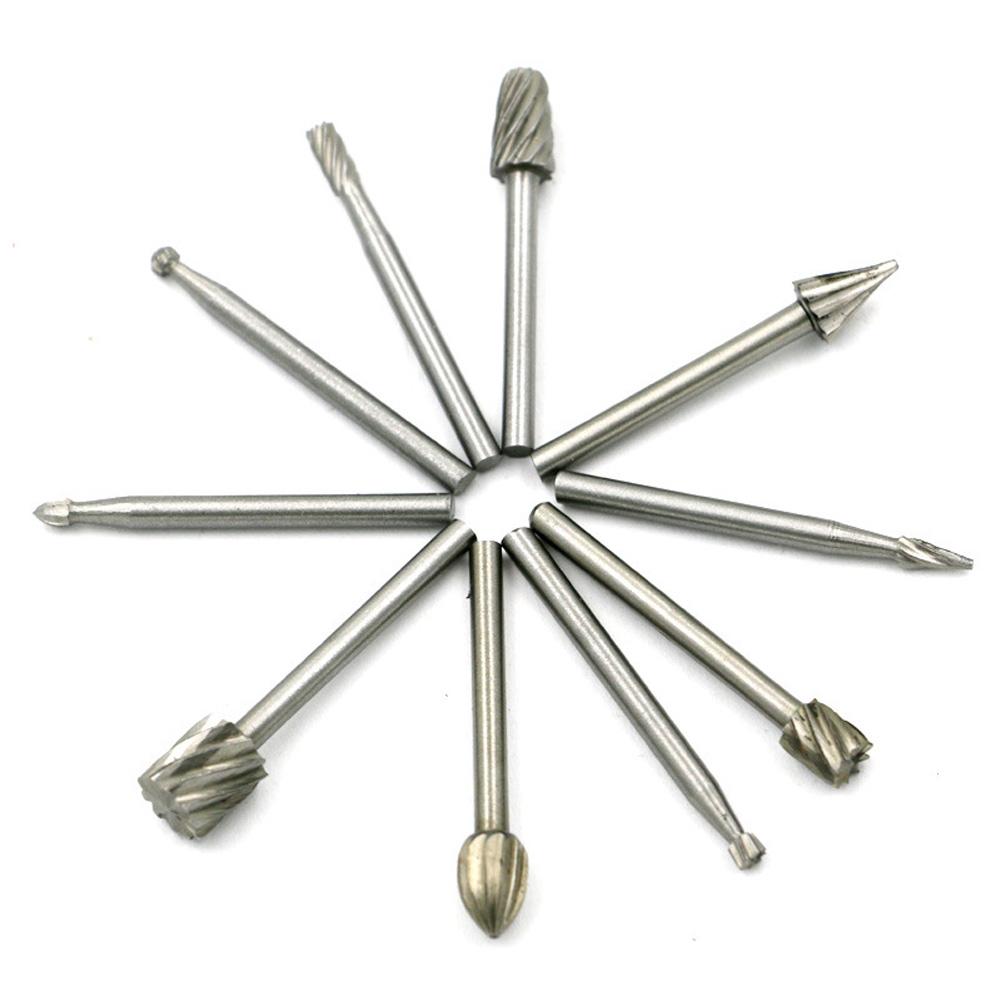 10pcs Mini Round HSS Rotary Burr Set Wood Carving File Rasp Drill Bits  OK