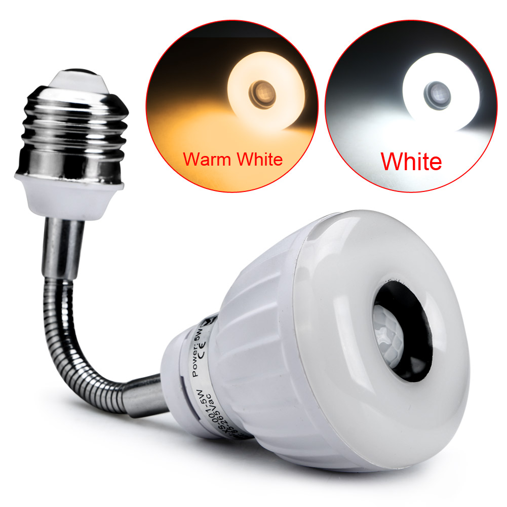 E27 5WLED Automatic PIR Infrared Sensor Motion Detector Light Flexible Tube
