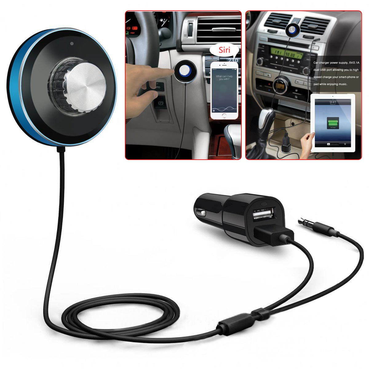 Bluetooth 4.0 Receiver 2-Port USB Car Charger Magnetic Base Built-in Mic
