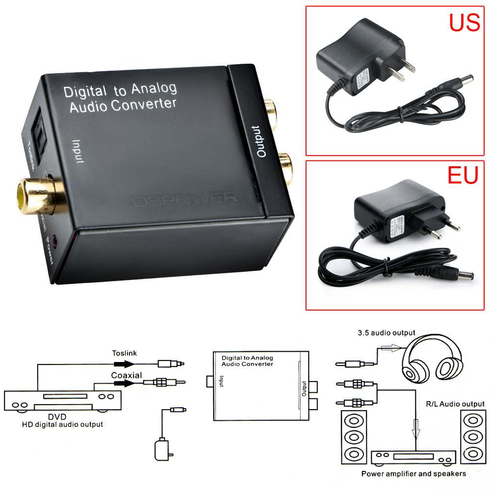 Digital Coaxial and Optical Toslink to Analog Stereo Audio Converter