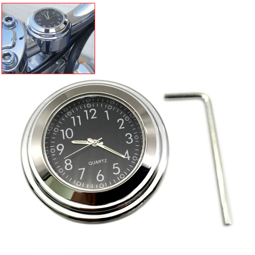 Wholesale Universal Motorbike Chrome Waterproof Black Handlebar Mount Watch Clock