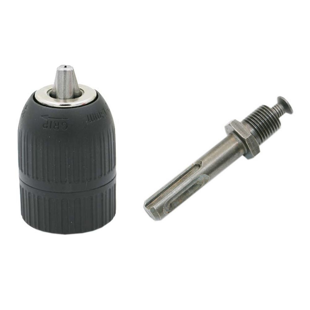 1//2-Inch 3-Jaw Metal Keyless Impact SDS Hammer Drill Chuck Hand Tool Set Fine