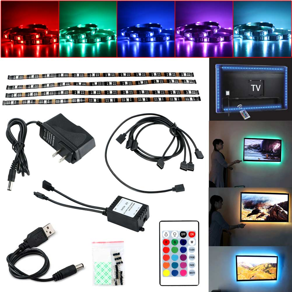 5V RGB 12Led Strip Light USB Power TV Backlighting W/ Remote Control Set