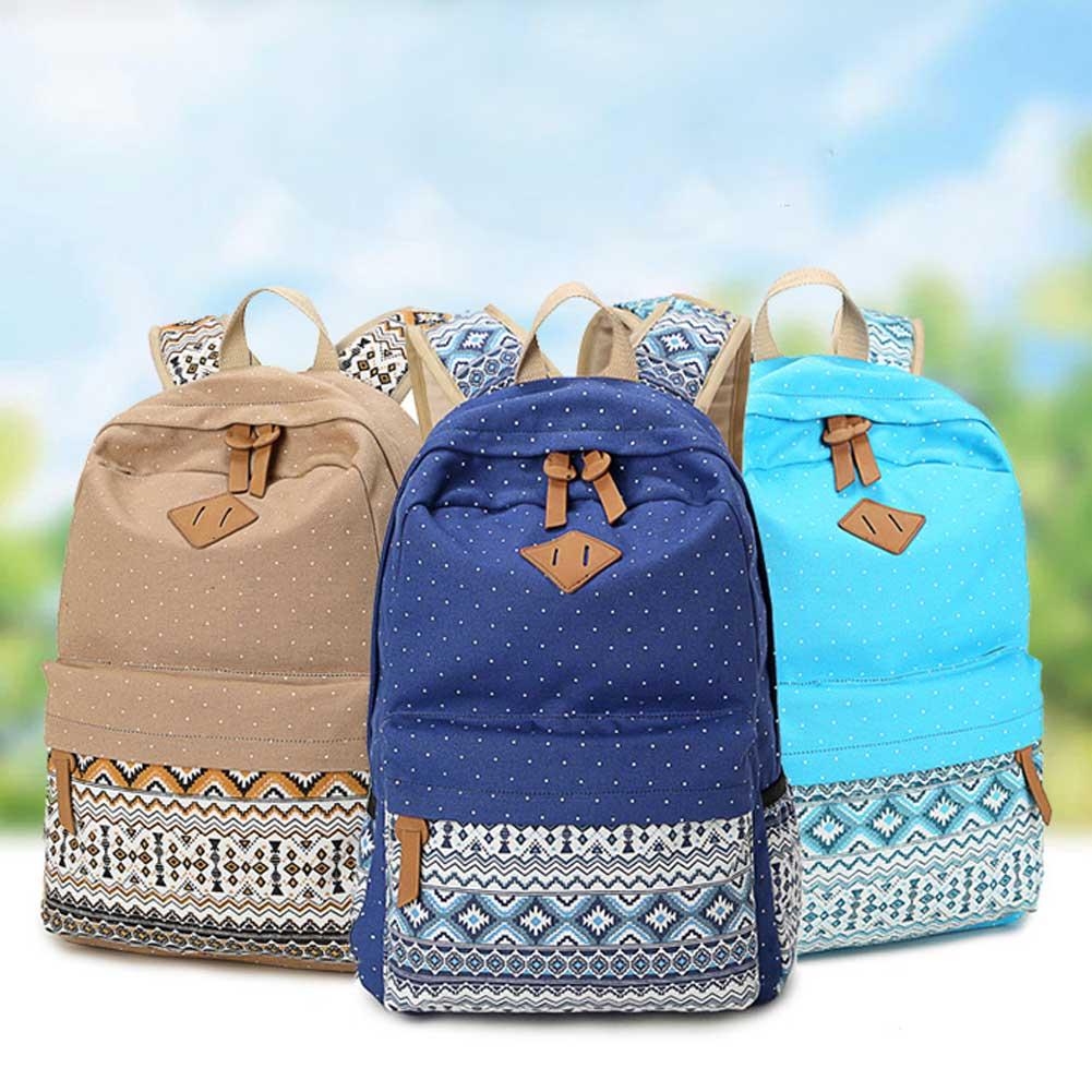 Women Casual Sport Travel Canvas Shoulder bag Backpack Schoolbag Rucksack