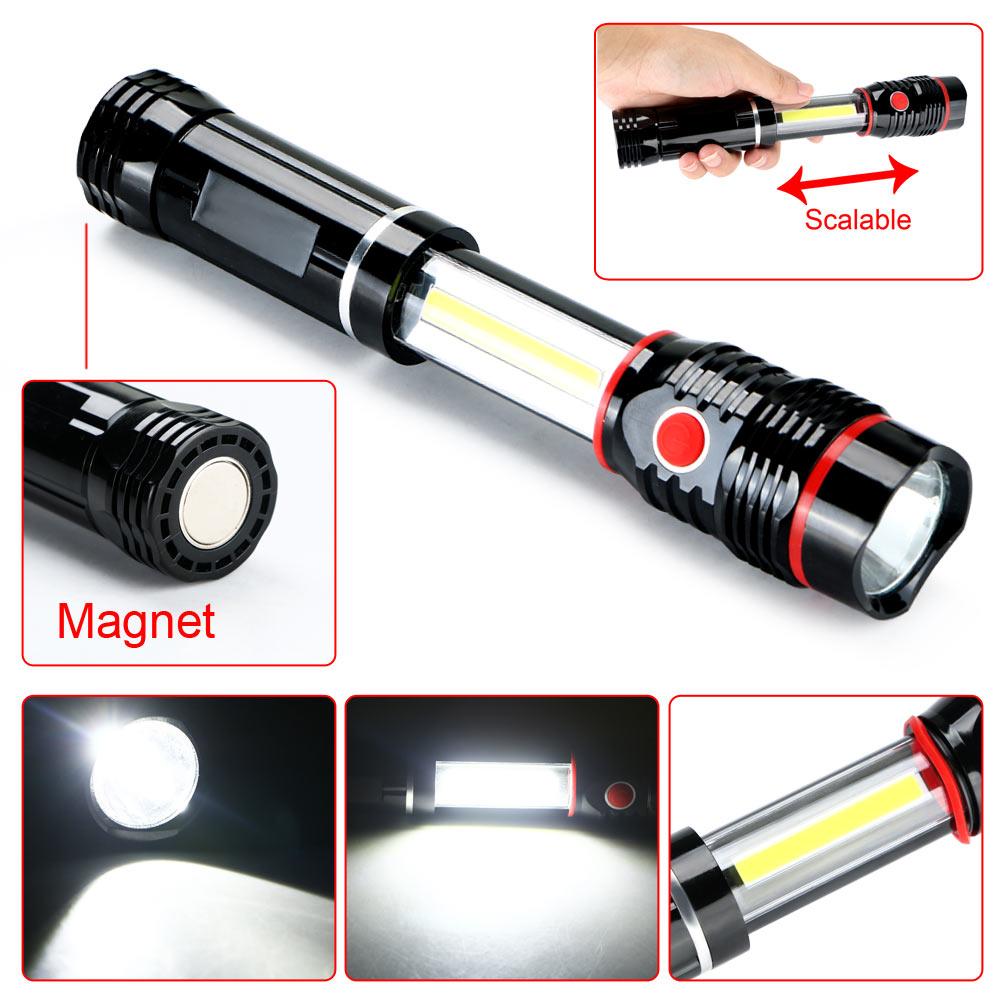 COB 300LM LED Magnetic END Work Light Inspection Flashlight Lamp Pocket Torch