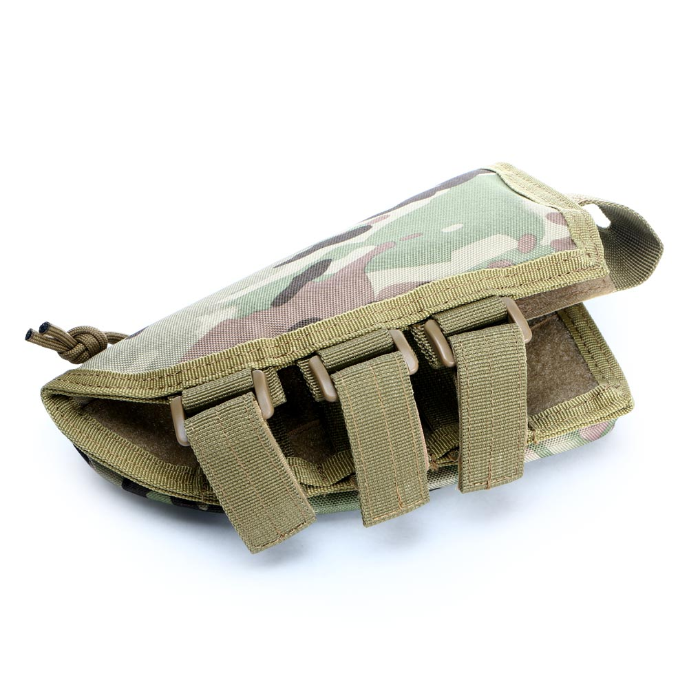 Military Tactical Buttstock Rifle Shell Holder Cheek Rest Pouch Mag Bag