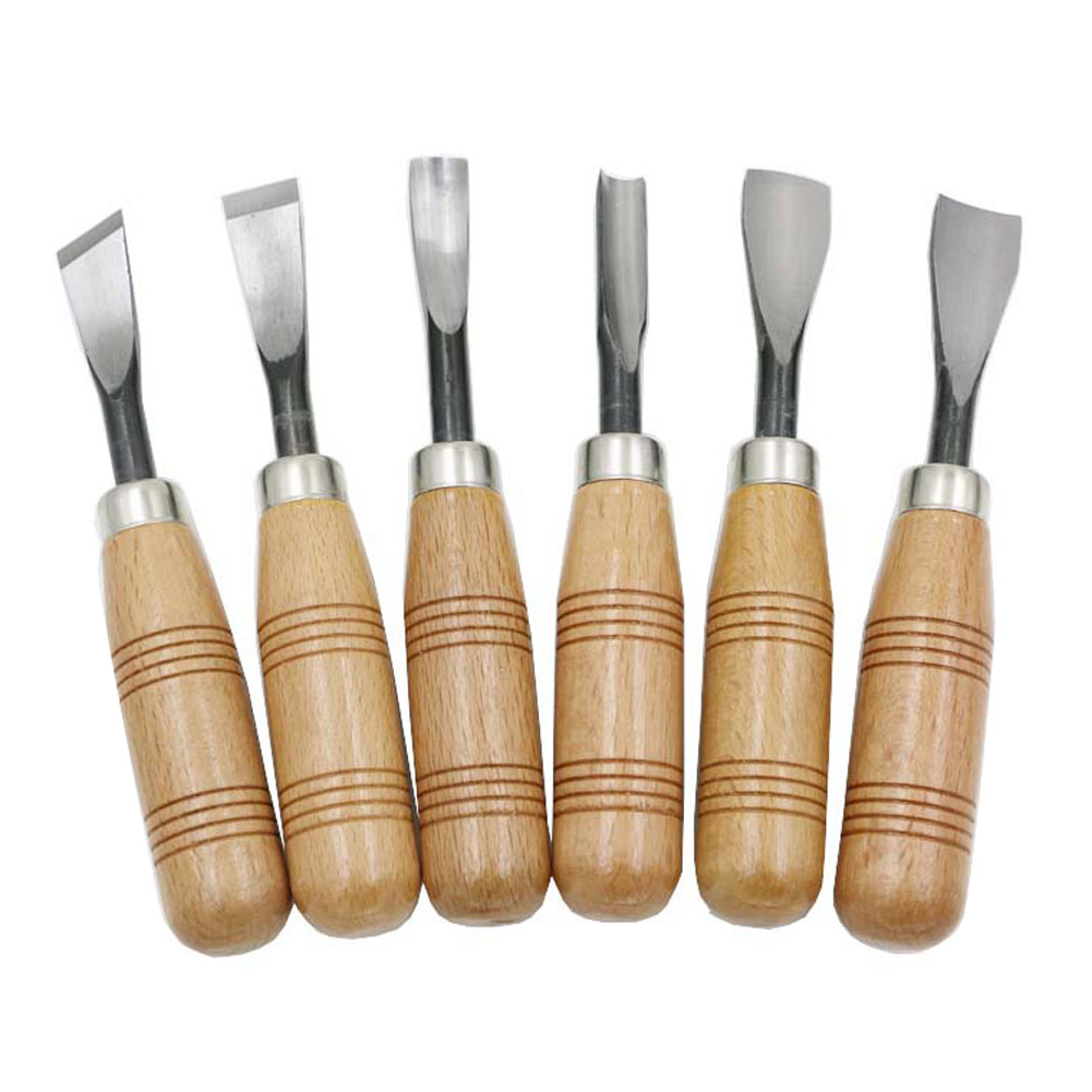 6PCS Woodworking Woodcut Wood Hand Carving Chisel Set Kit Knives Tool