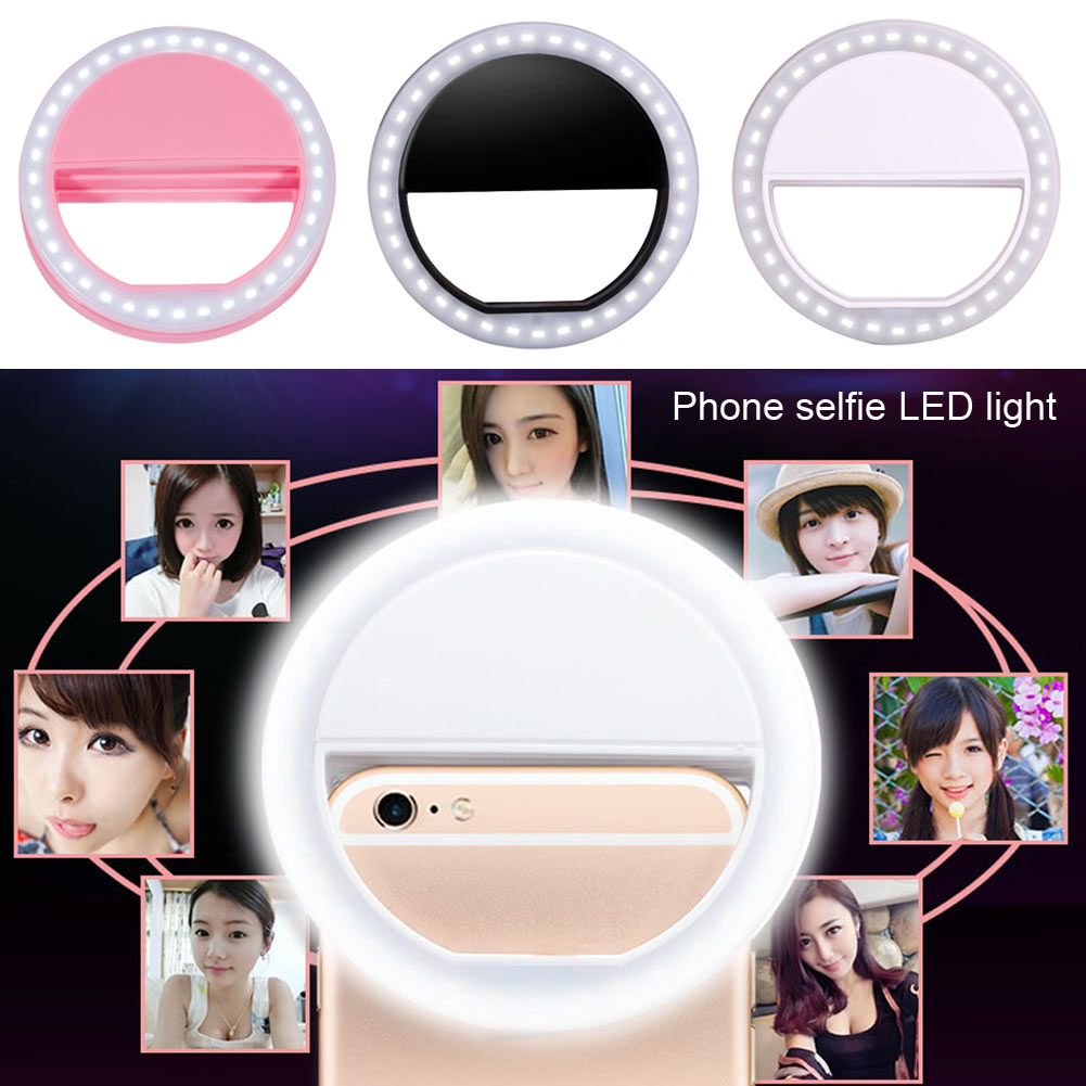 Portable Mobile Phone Selfie Makeup LED Ring Flash Light Camera Photography