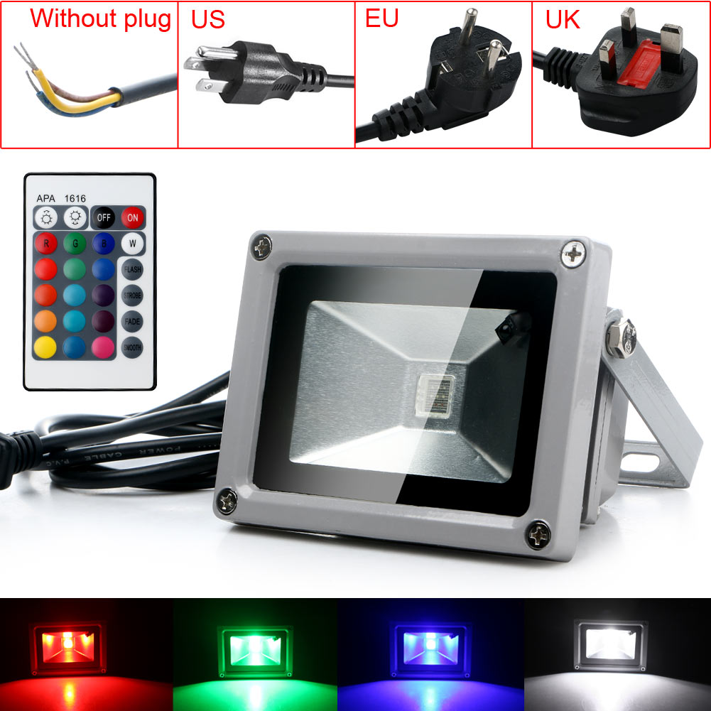 Outdoor 10W RGB Waterproof LED Flood Light Landscape Lamp W/ Remote Control