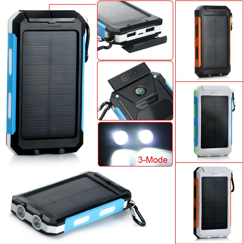 Waterproof Flashlight 10000mAh Compass Solar Mobile Power Charger USB Cable