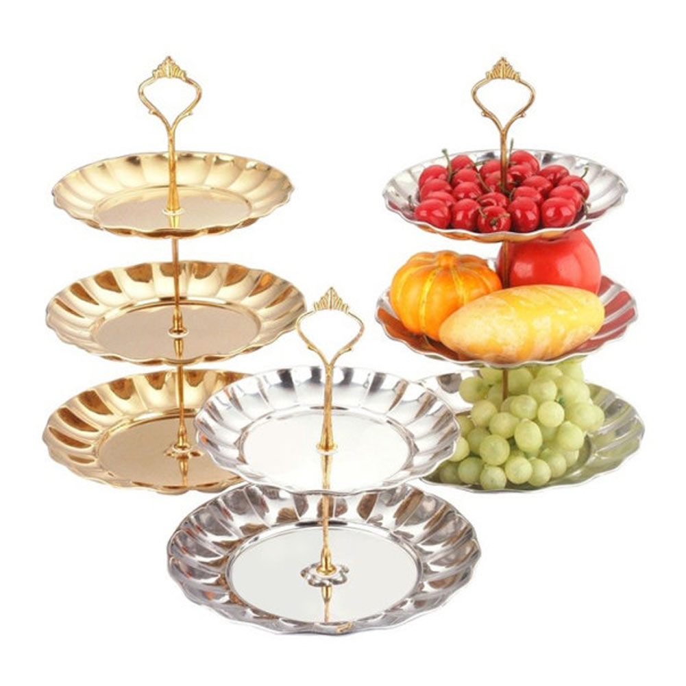 3 Tier Stand Stainless Steel Crown Cake Plate Dessert Fruit For ...