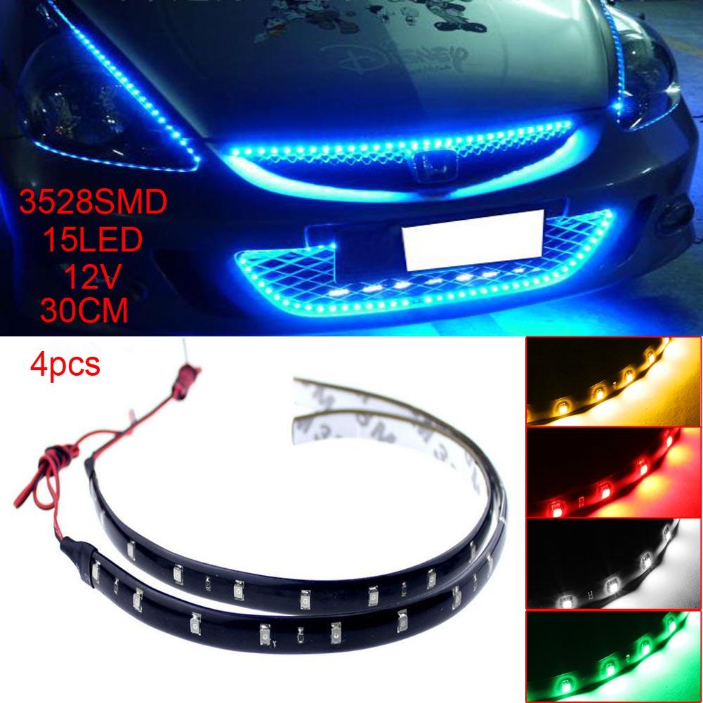 4pcs 12V 30cm 15LED 3528 SMD Waterproof Car Auto Flexible Strip Lights