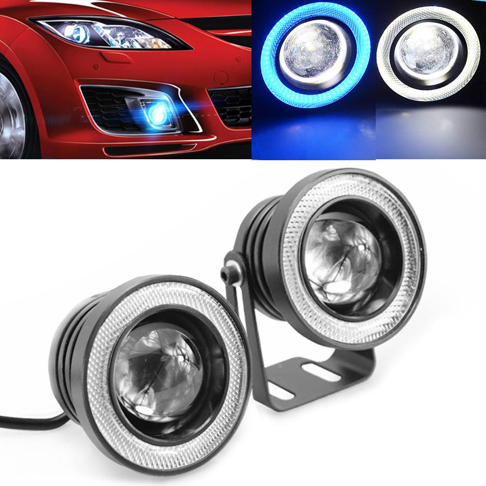 "2PCS 3\\\"" 30W 12V LED Angle Eye Car White DRL Lamp Projector COB Fog Light"