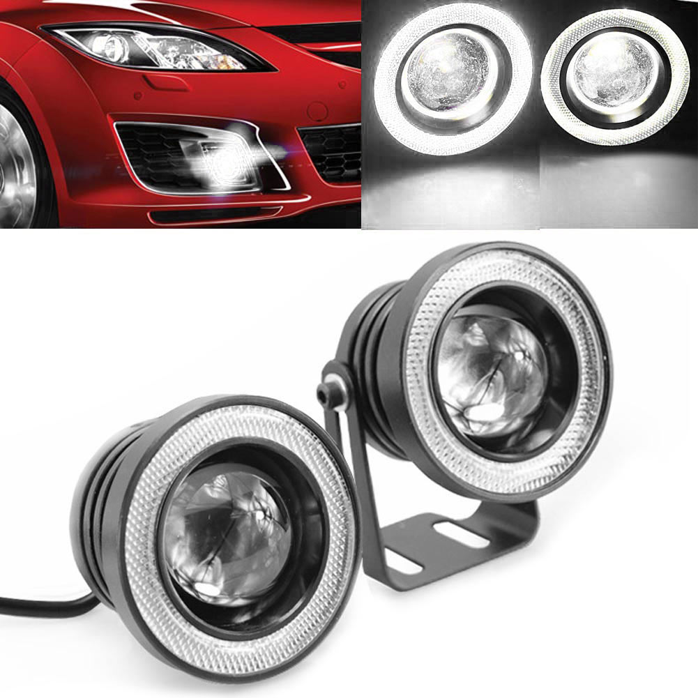 "2PCS 3.5\\\"" 30W 12V LED Angle Eye Car White DRL Projector COB Fog Light"