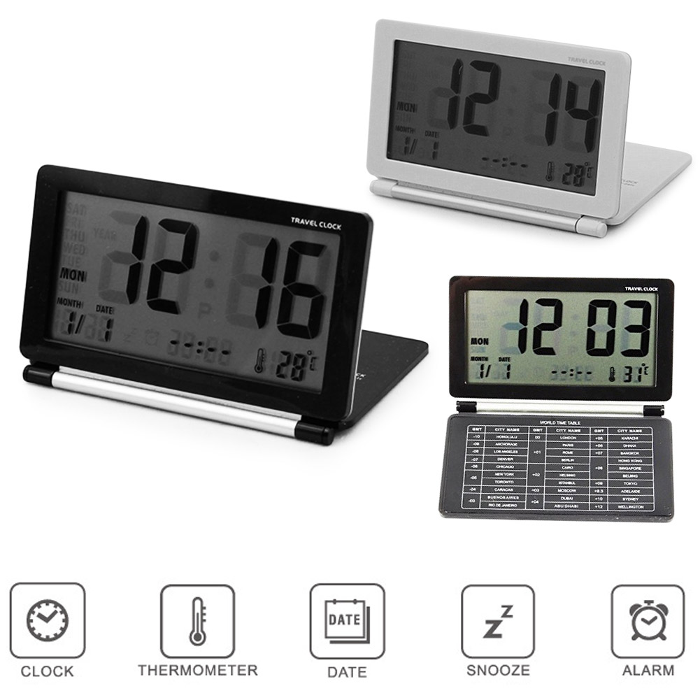 Ultra Slim Clamshell Mulitifunctional Travel LCD Thermometer Alarm Clock