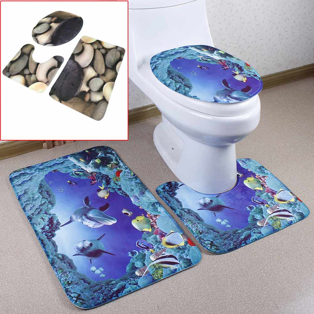 3PCS Lid Toilet Cover Pedestal Rug Carpet Bathroom Mat for Household