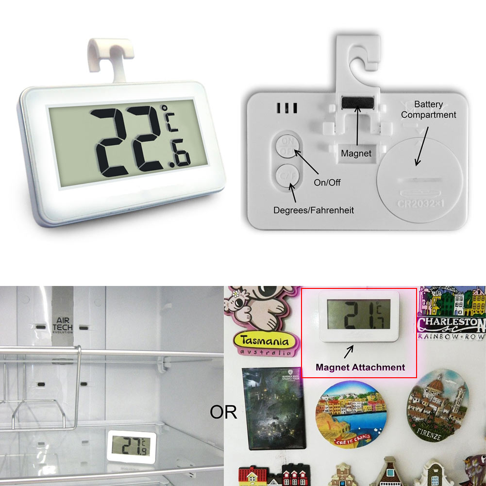 Wireless Digital Thermometer W/Magnet Hook for Refrigerator Freezer Fridge