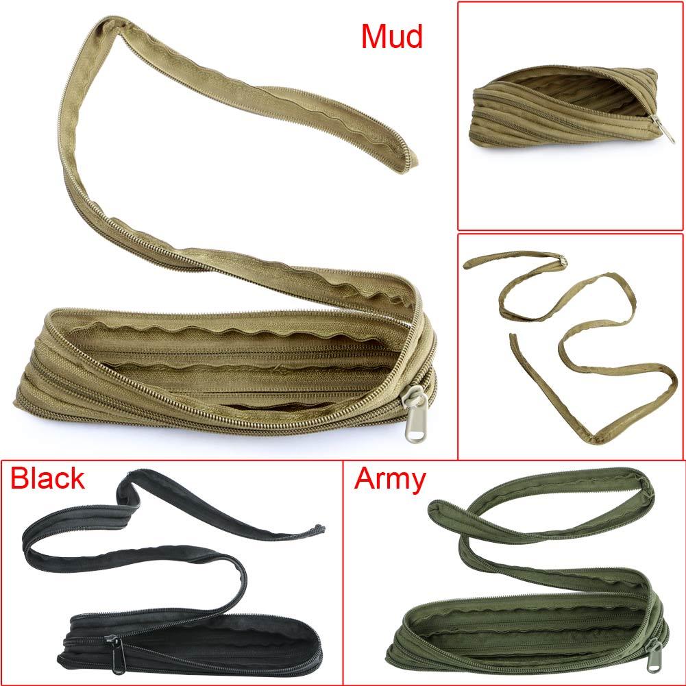 Portable Military EDC Debris Bag Outdoor Survival Zipper Cord Rope Pouch