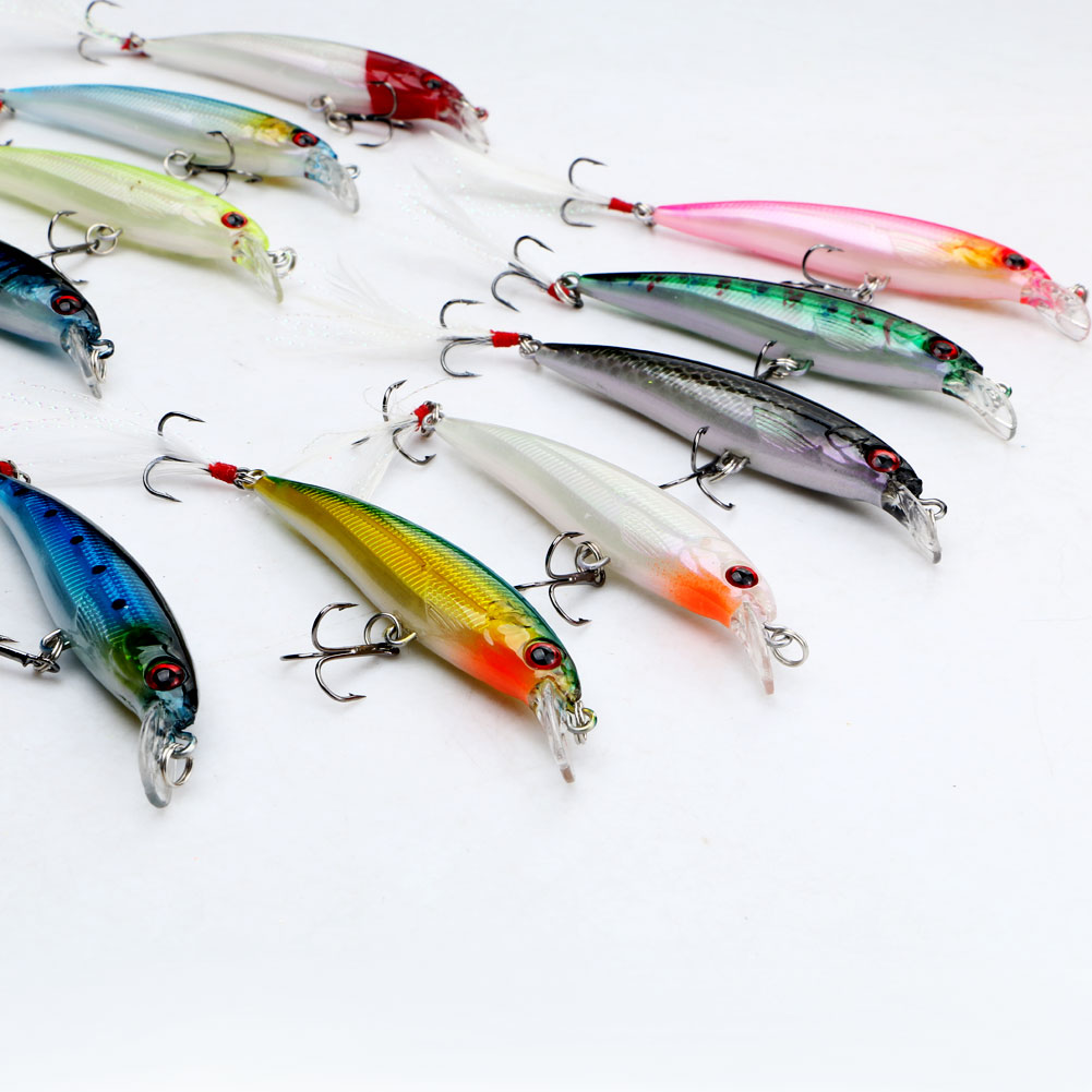 Lot 10pcs Minnow Fishing Lure Bait Bass Crank Bait Tackle Feather Hook 10cm