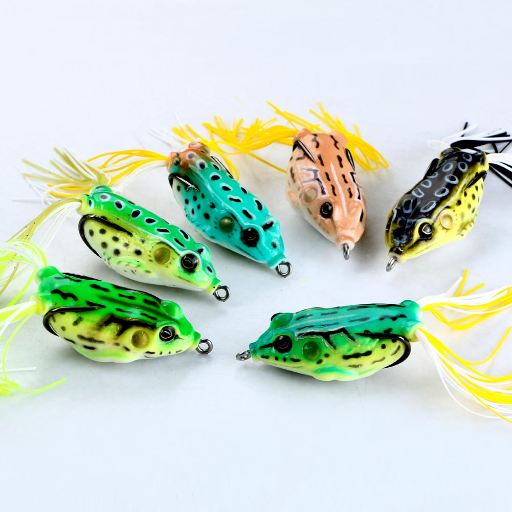 Lot 6pcs Plastic Frog Fishing Lure Crank Bait Tackle Bass Hook 5.5cm 12.5g