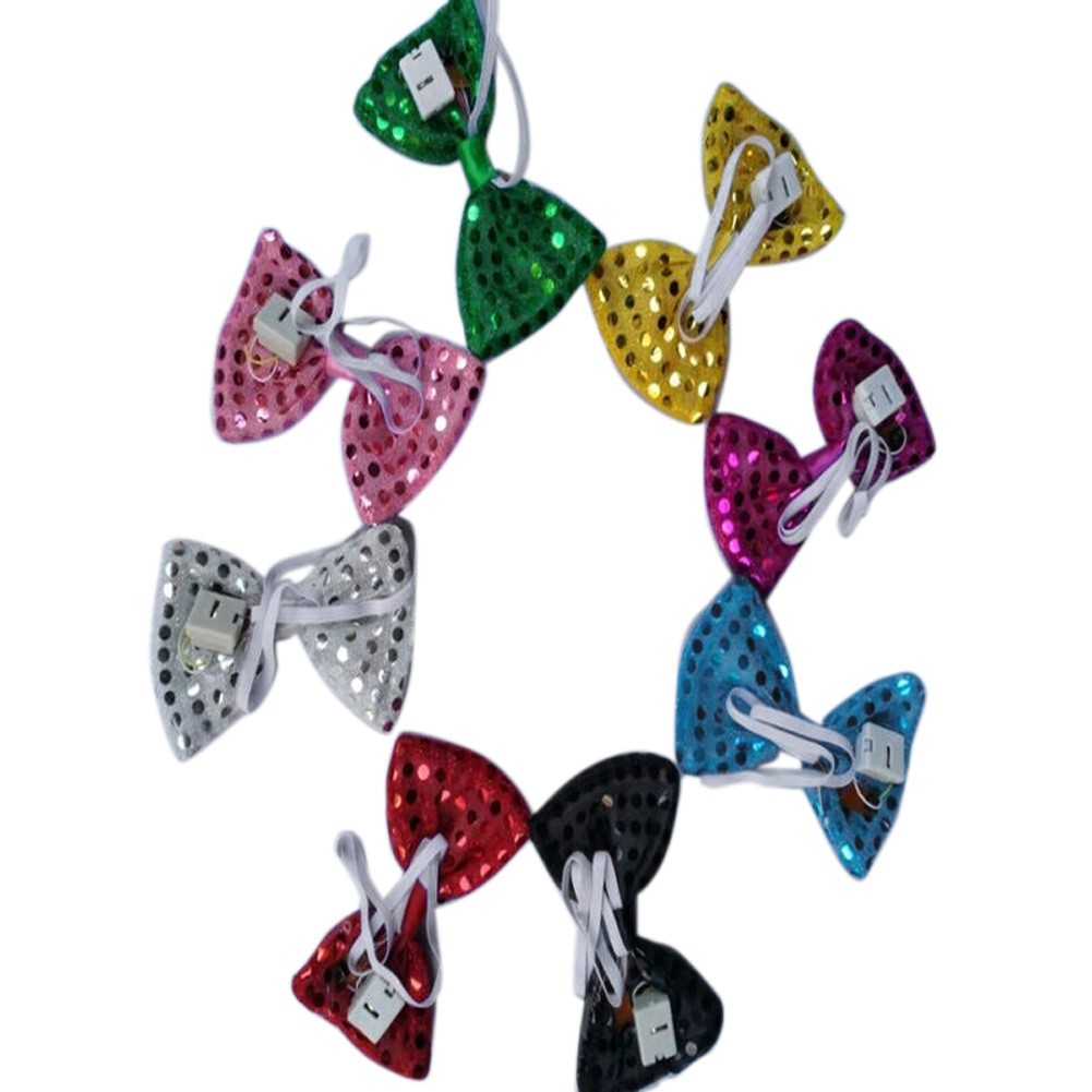 8pc Adjustable Tied LED Light Up Flashing Sequin Bow Tie for Children