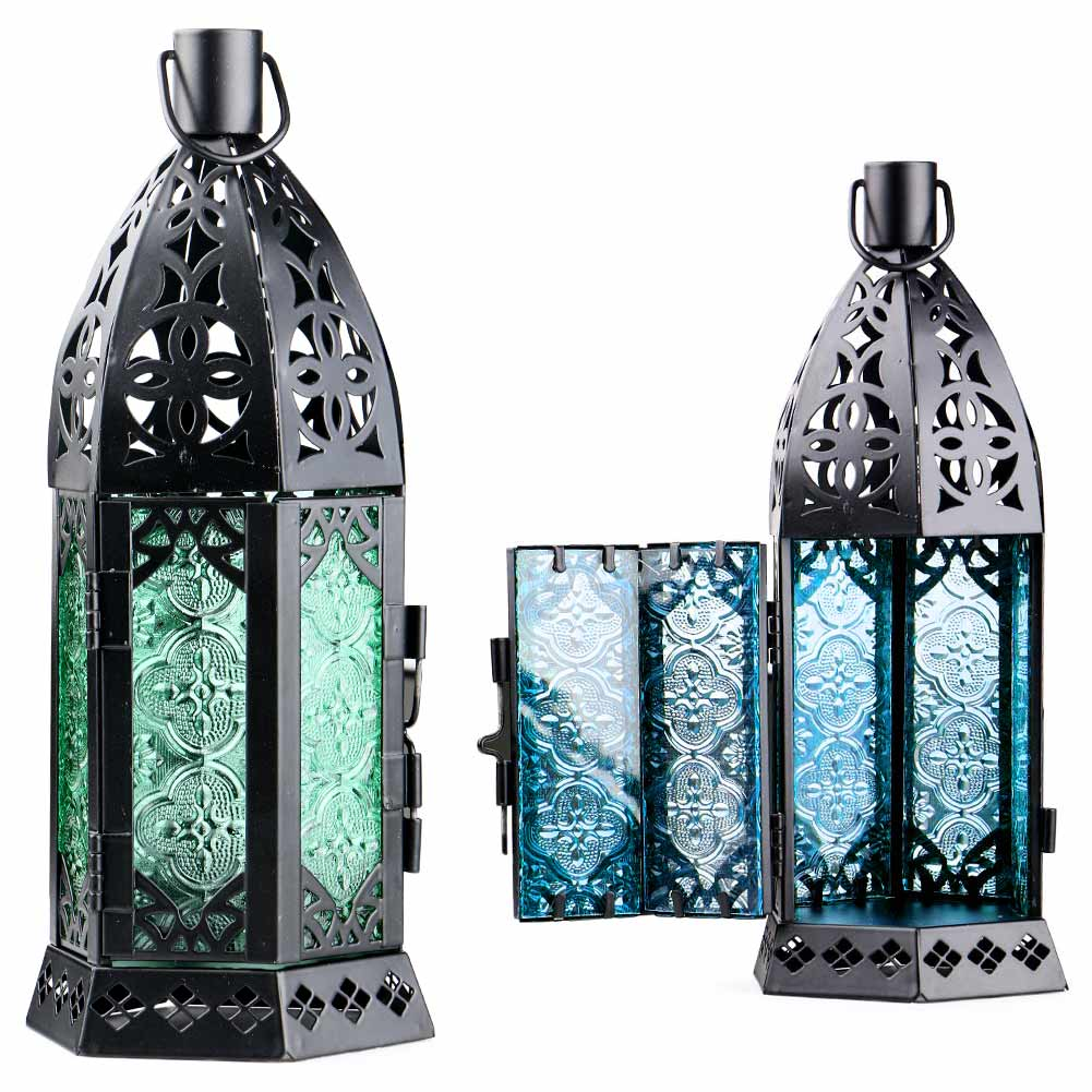 Glass Metal Moroccan Delight Garden Candle Holder Table/hanging Lantern