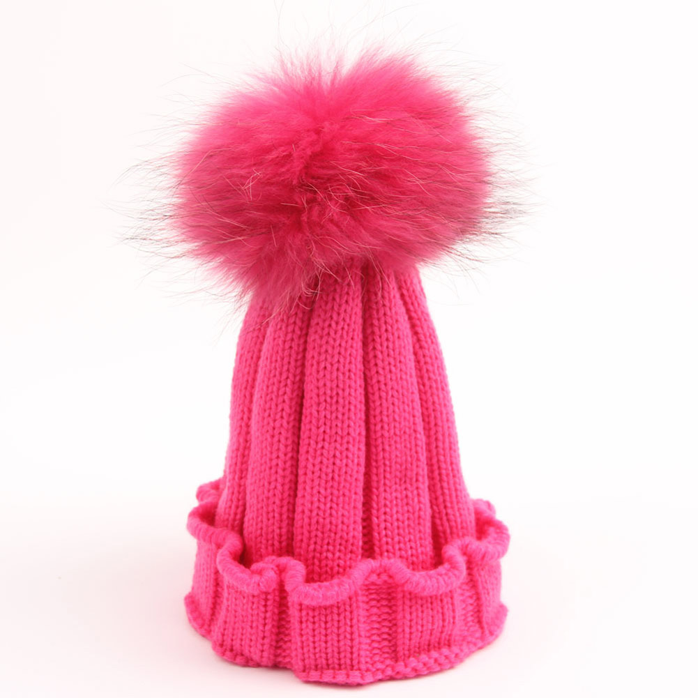 e0e8e1032ea Details about Unisex Baby Toddler Boy Girl Winter Knitting Warm Soft Hairball  Cap Hat Rose Hot
