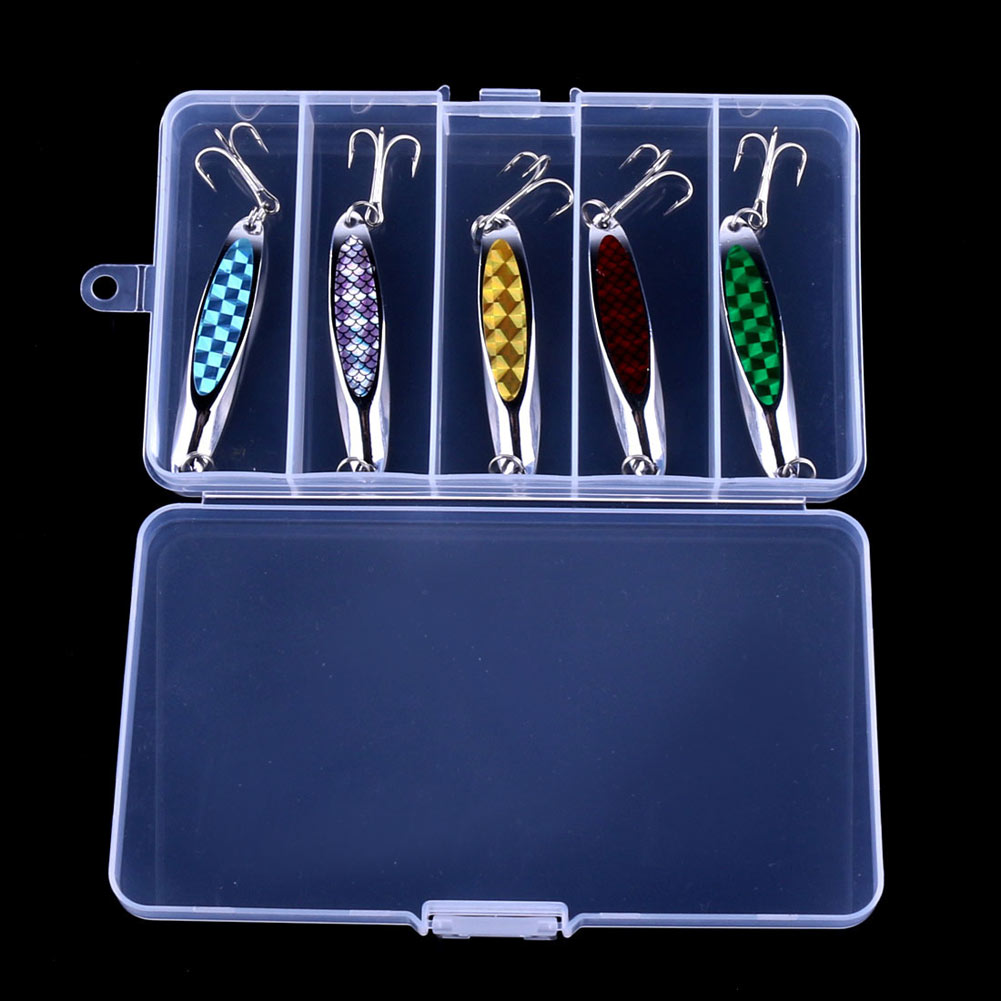 5pc Metal Spoon Sequin Fishing Lure With #4 Hook Bait Tackle Box Set Kit