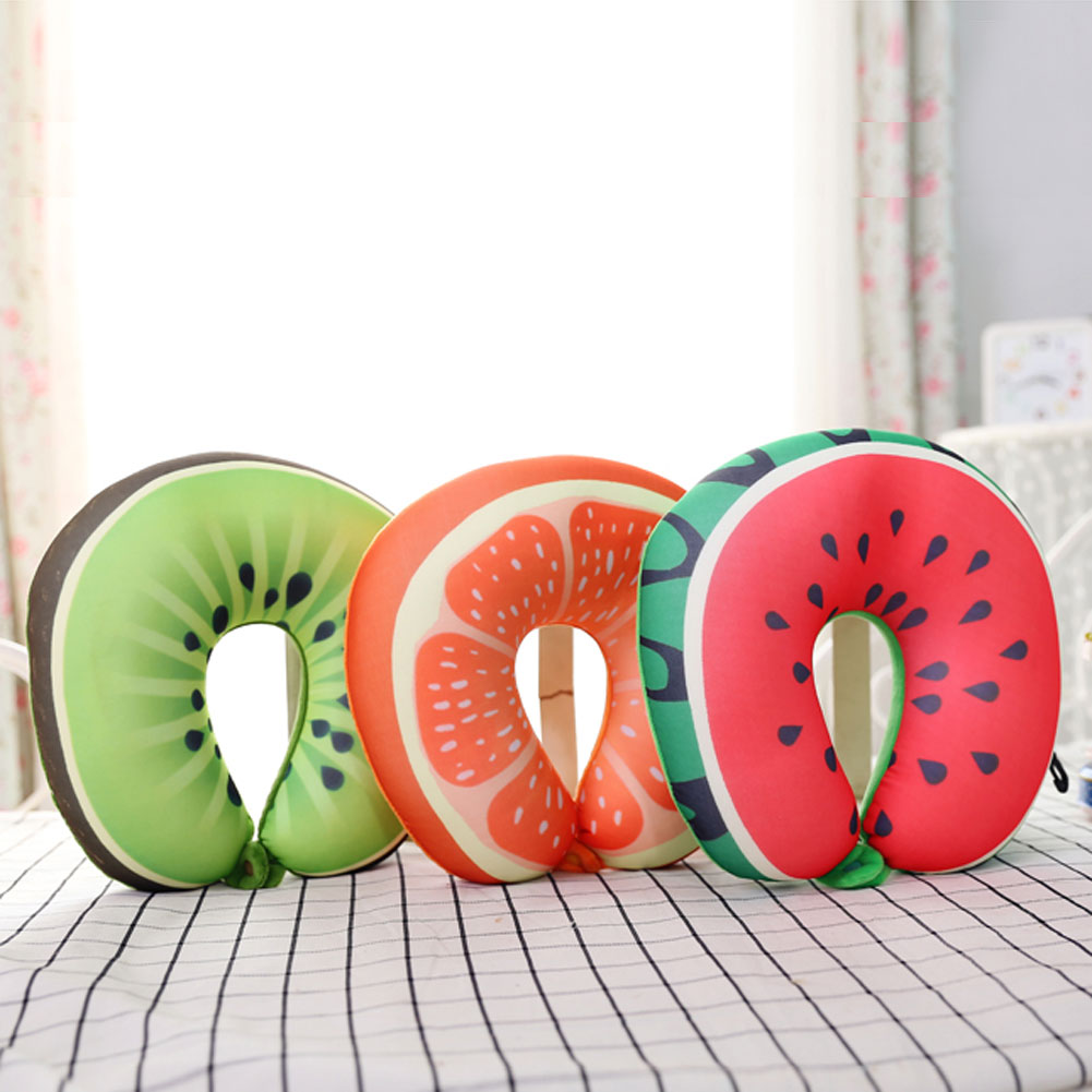 Microbead U Shaped Travel Fruit Neck Pillow for Sleeping / Cervical Support