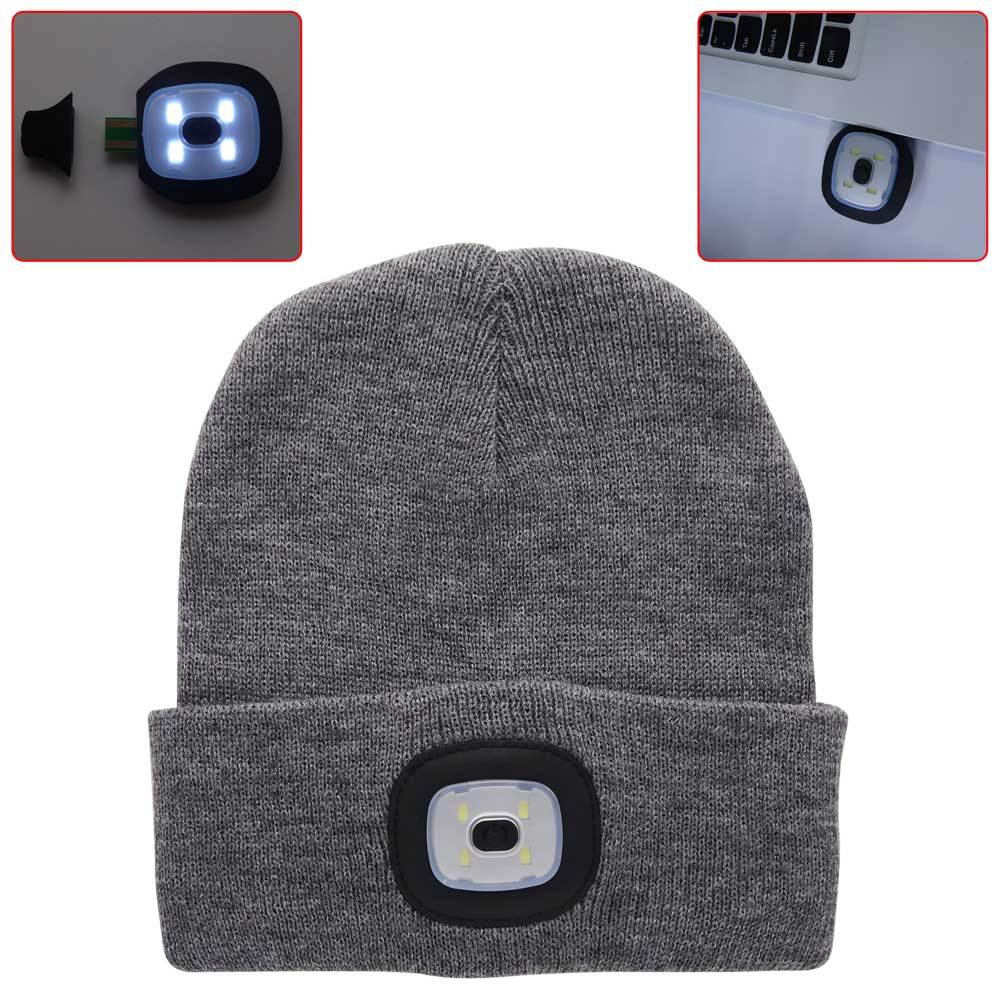 4 Led Light Cap Knit Beanie Hat With 2 Batteries Outdoor
