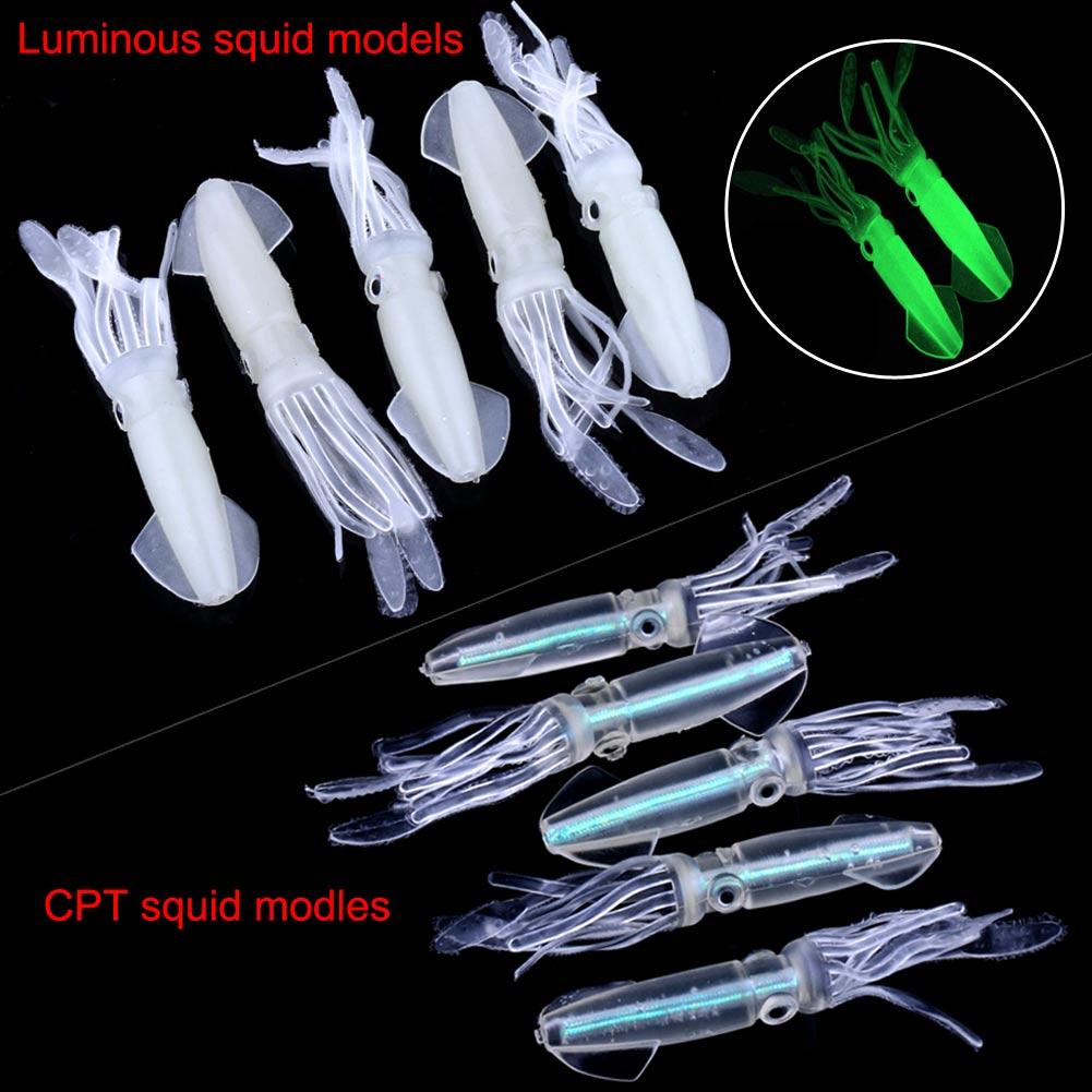 5pc Glow Luminous Squid Octopus Soft Plastic Bait Fishing Lure Tackle Tool