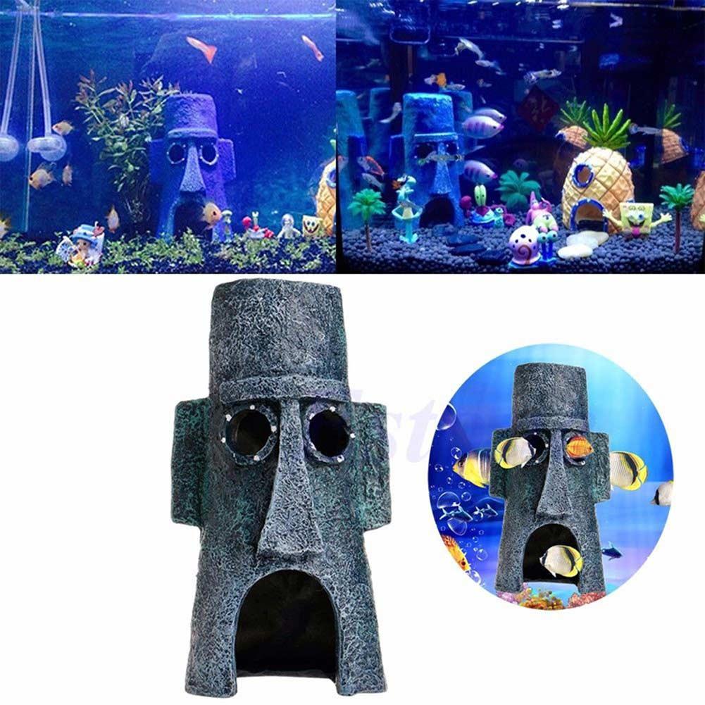 Squidward Easter Island House Penn Plax Aquarium Fish Tank Decoration Good Decorations