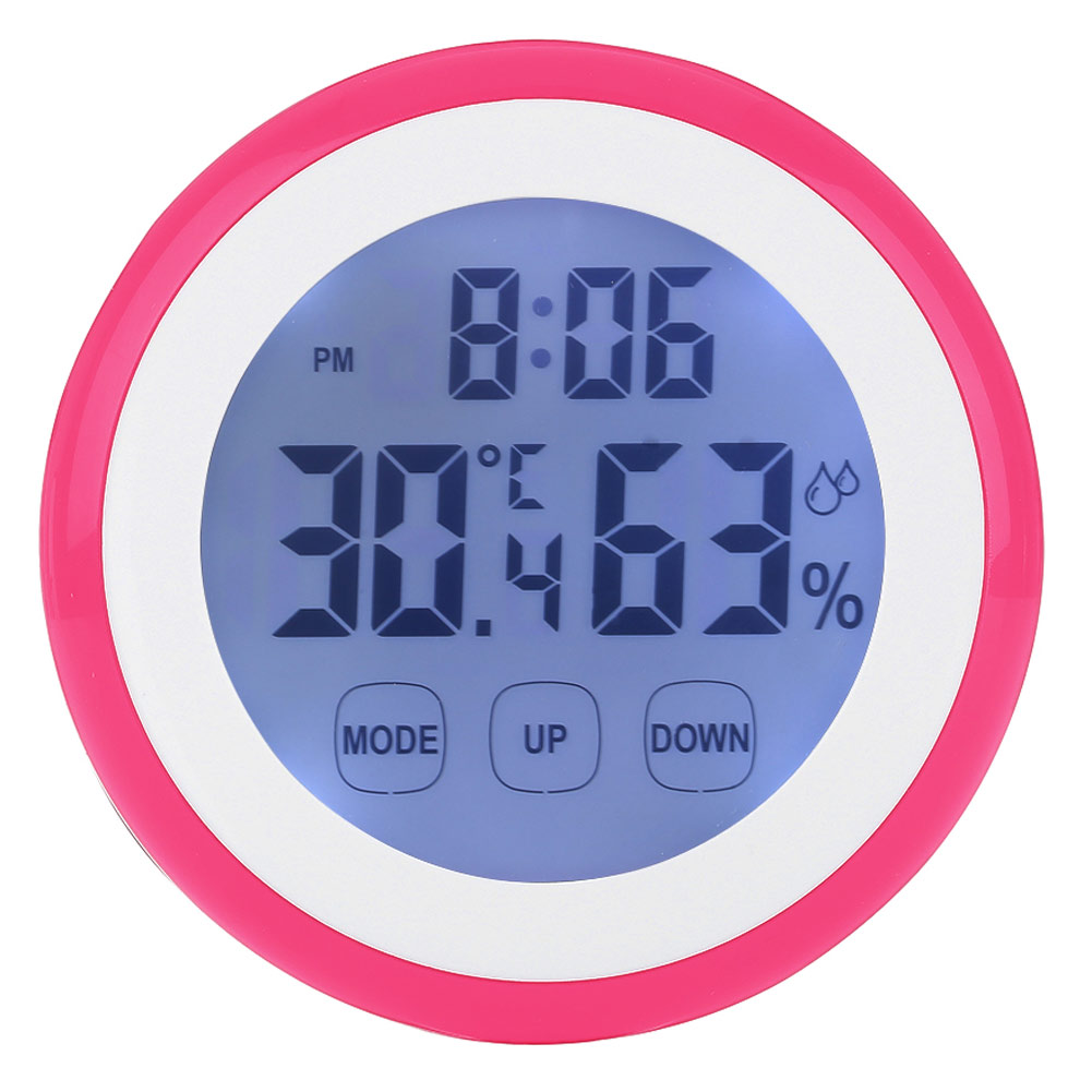 Backlight Touch Screen Hygrometer Time Temperature Clock Thermometer Red