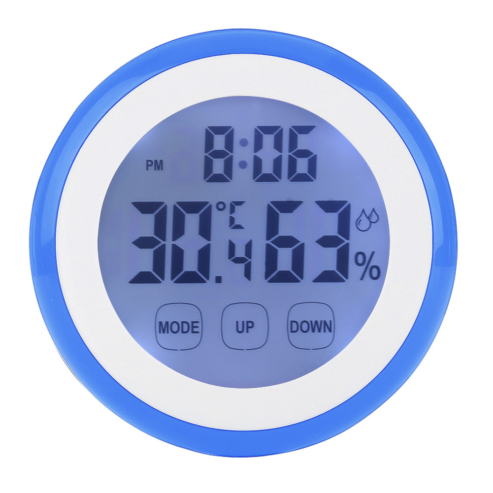 Backlight  Touch Screen Hygrometer Time Temperature Clock Thermometer Blue
