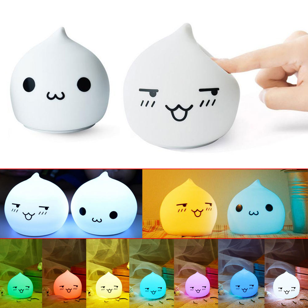 Color Changing Cute Waterdrop Silicone Kids Gift Nightlight Table Lamp