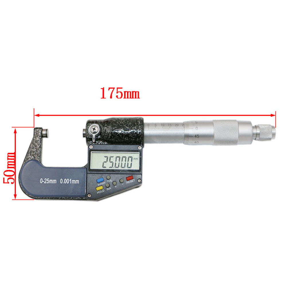 25mm/0.001mm Large LCD Metric/Inch  ConversionElectronicDigital Micrometer