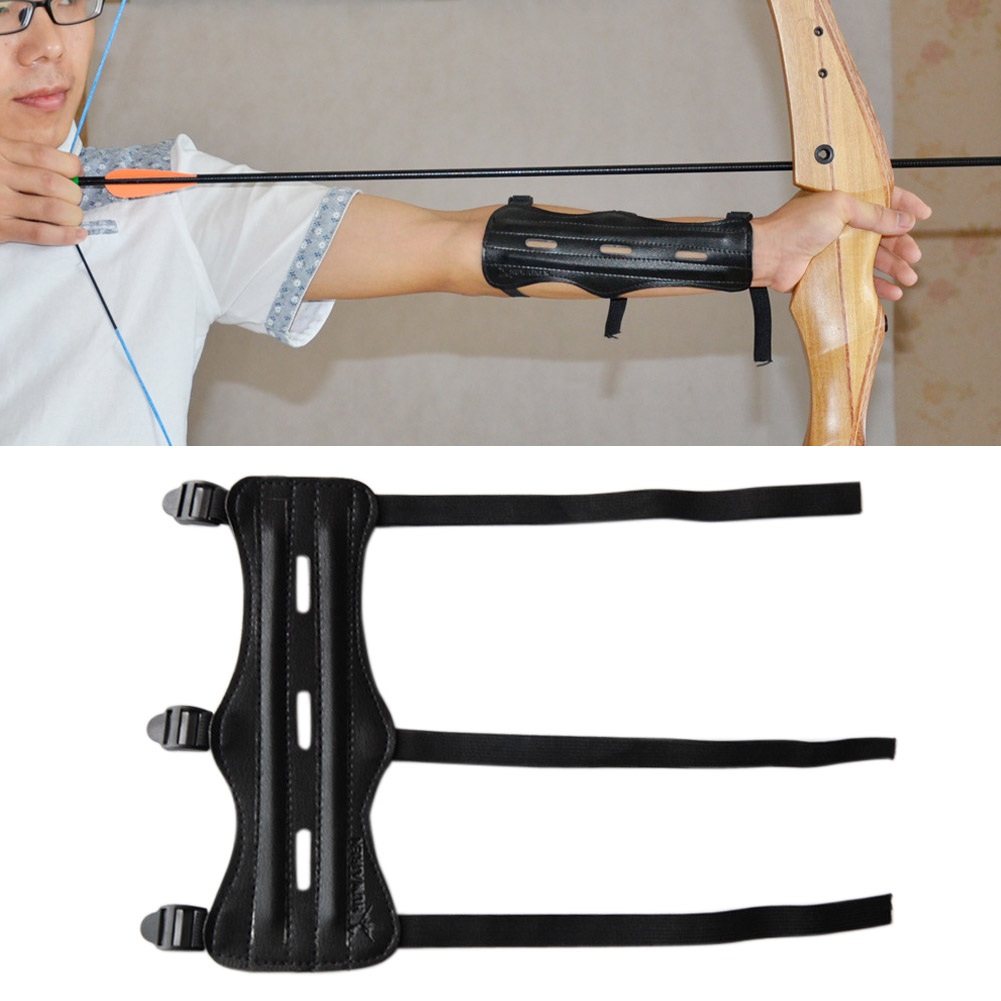 Archery Leather 3Adjustable Straps Wristband Unisex Protective Arm Guard